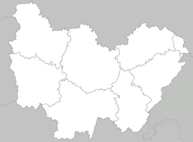 Carte vierge des départements de Bourgogne-Franche-Comté