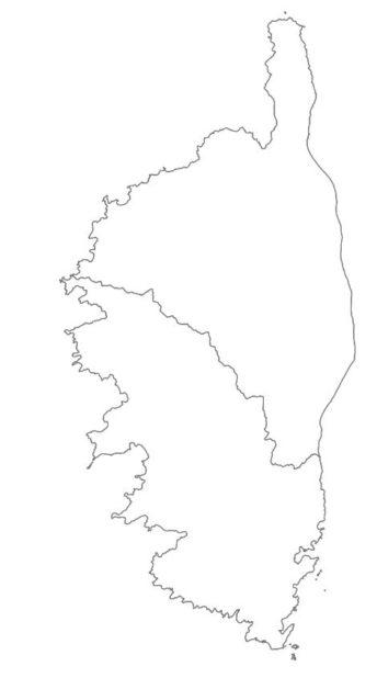 Carte vierge des départements de la Corse