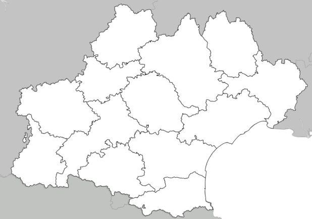 Carte vierge avec départements de l'Occitanie