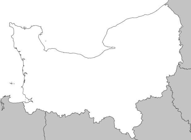 Carte vierge de la Normandie