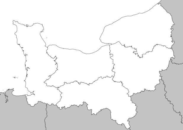 Carte vierge de la Normandie avec départements
