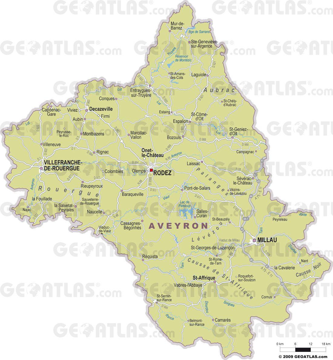 Carte de l'Aveyron - Aveyron carte des villes, politique, sites touristiques