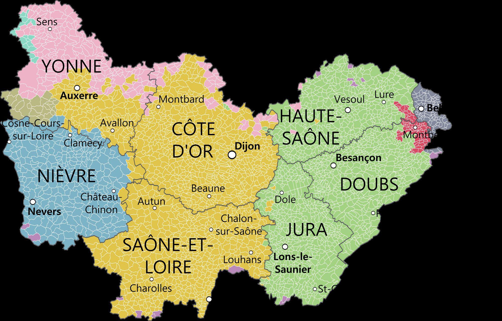 Carte des villes de Bourgogne-Franche-Comté
