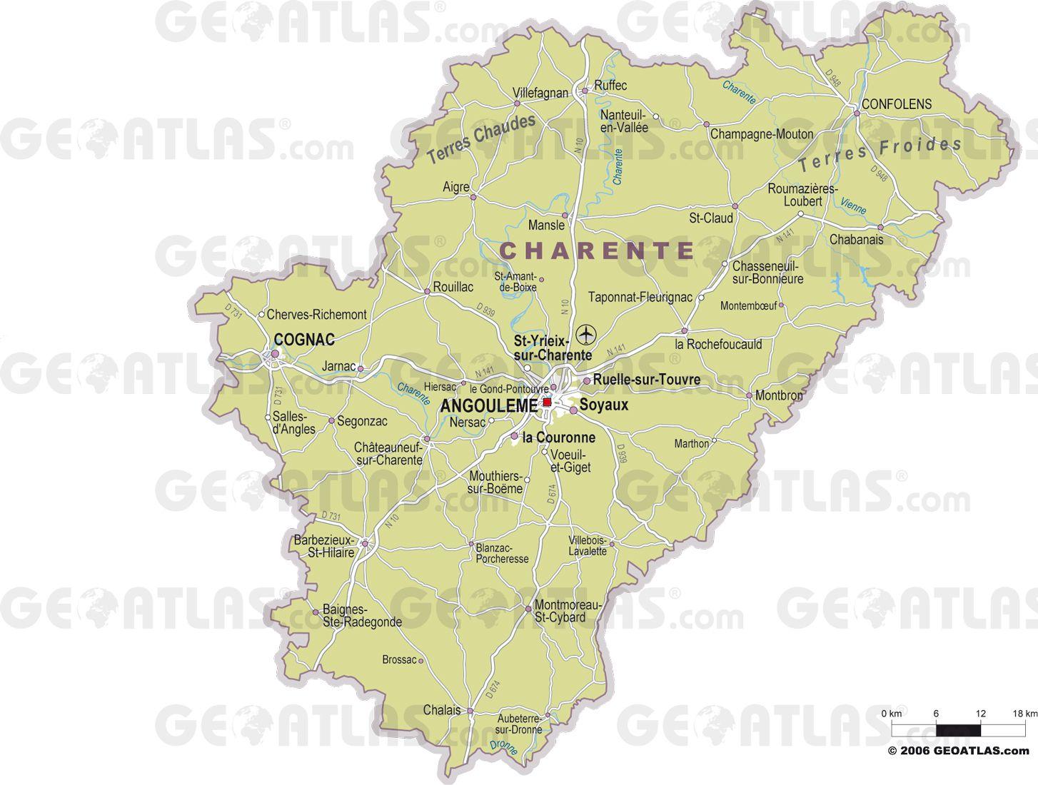 Carte des villes de la Charente