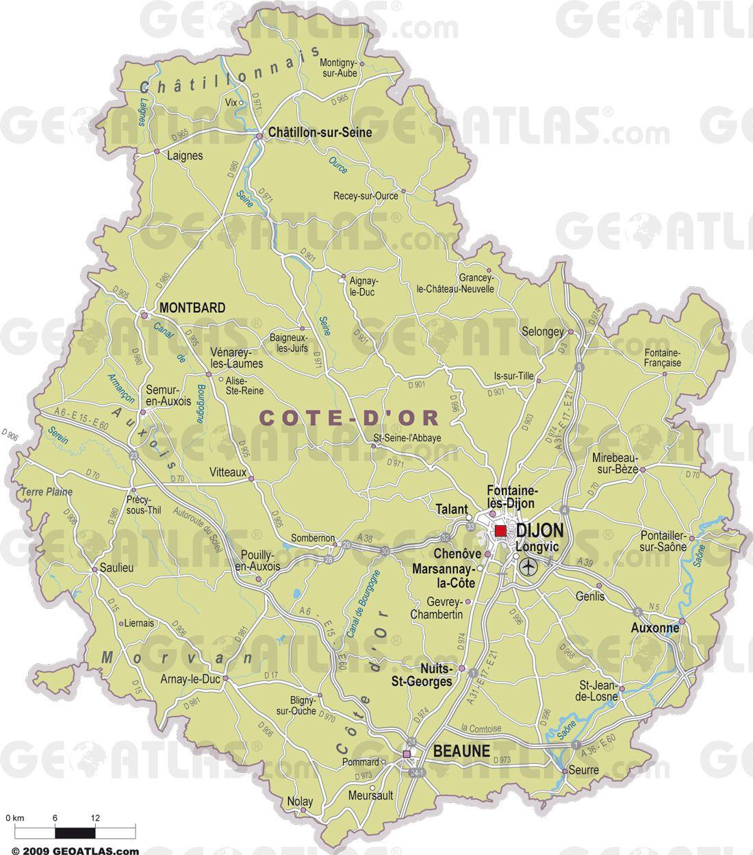 Carte des villes de Côte-d'Or