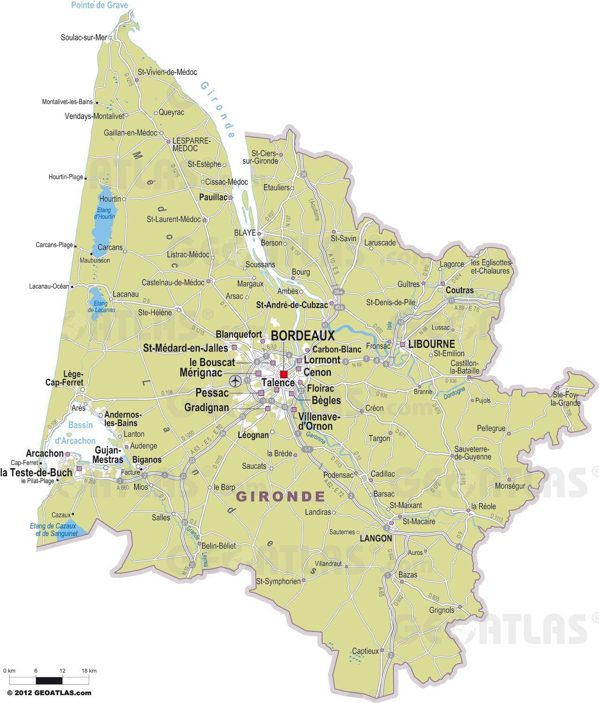 Carte des villes de la Gironde