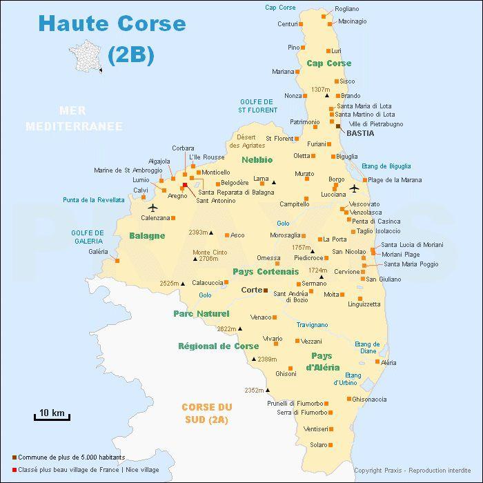 Carte Corse Departement.Carte De La Haute Corse Haute Corse Carte Des Villes