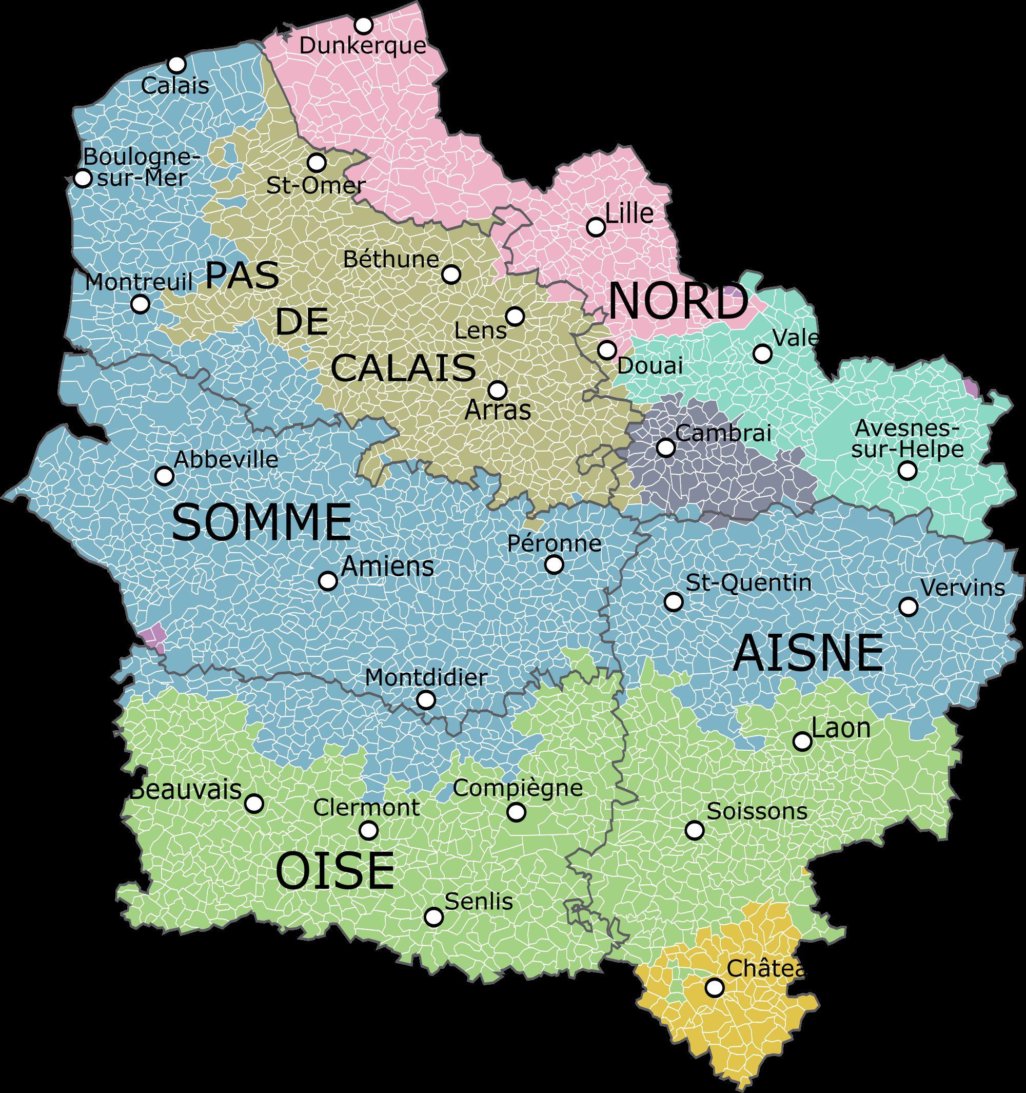 Carte des villes Hauts-de-France