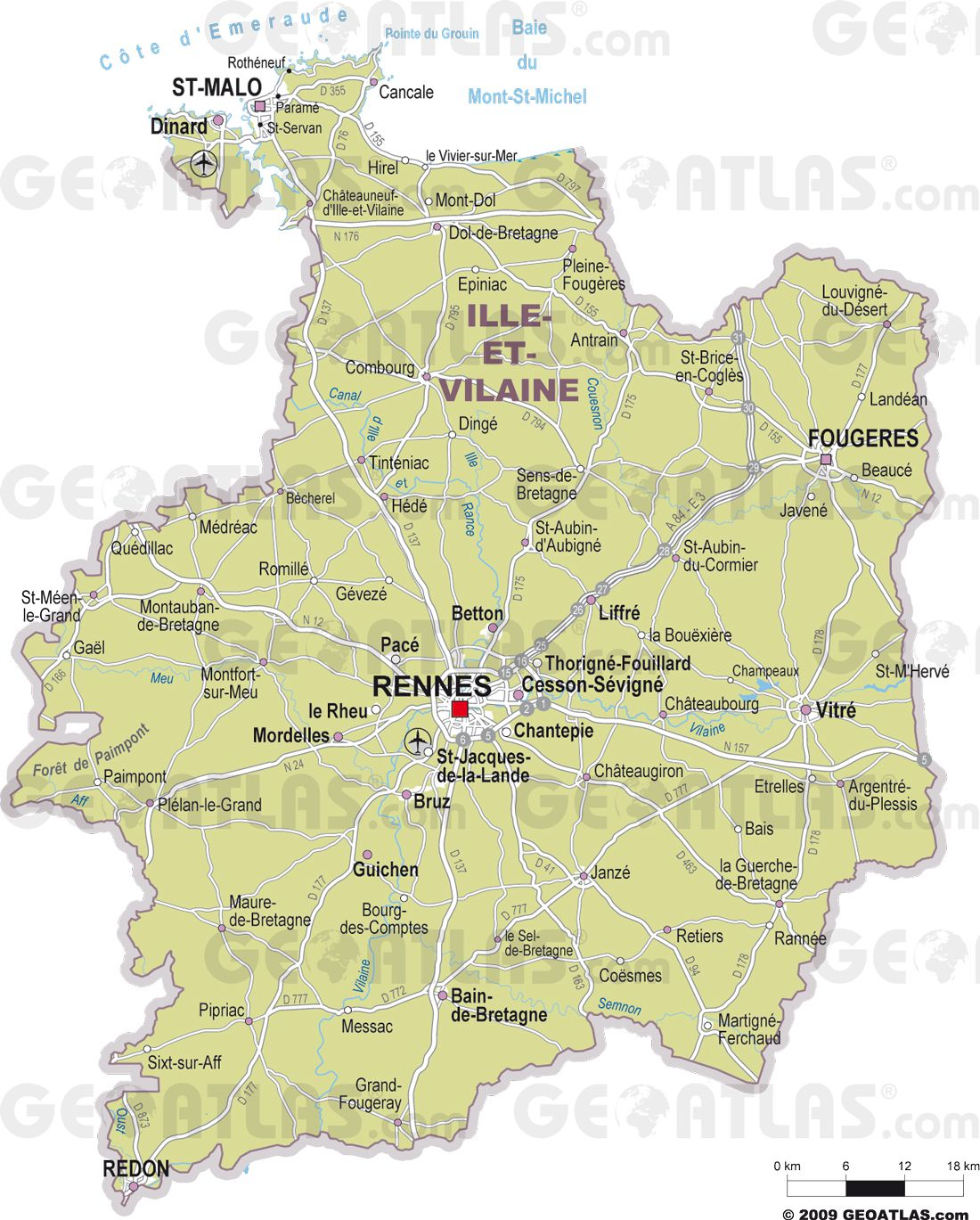 Carte des villes de l'Ille-et-Vilaine