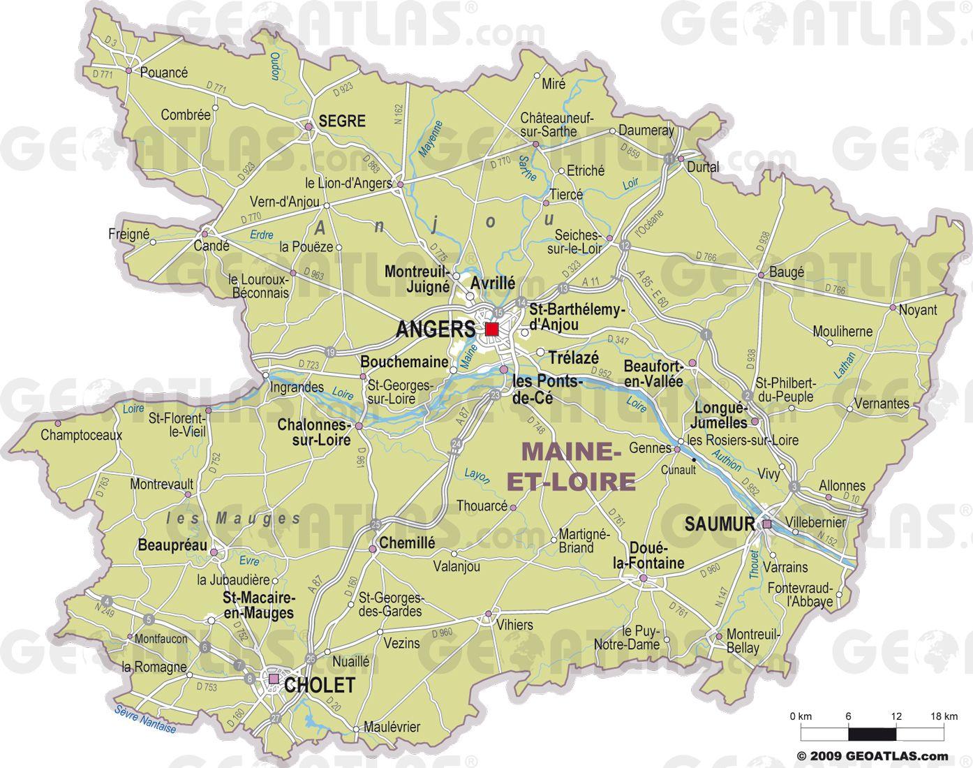 Carte des villes du Maine-et-Loire