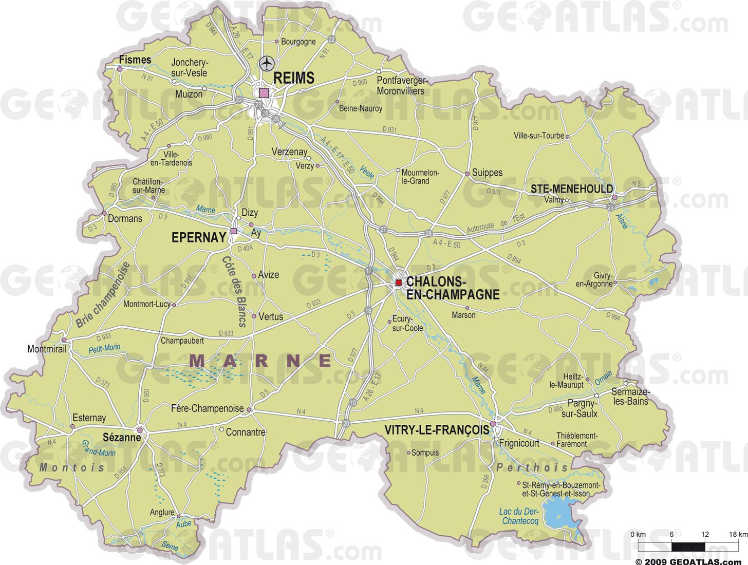Carte des villes de la Marne