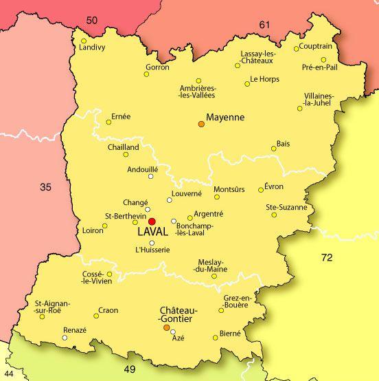 Carte des villes de Mayenne