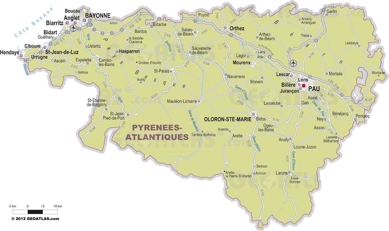 Carte des villes des Pyrénées-Atlantiques