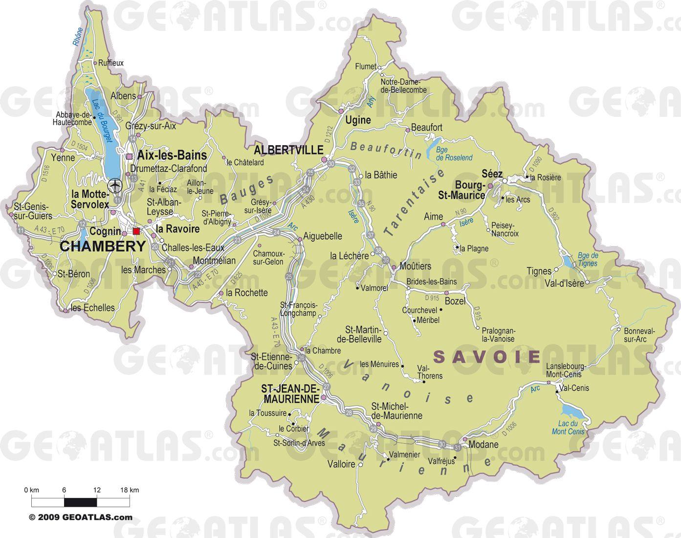 Carte des villes de la Savoie