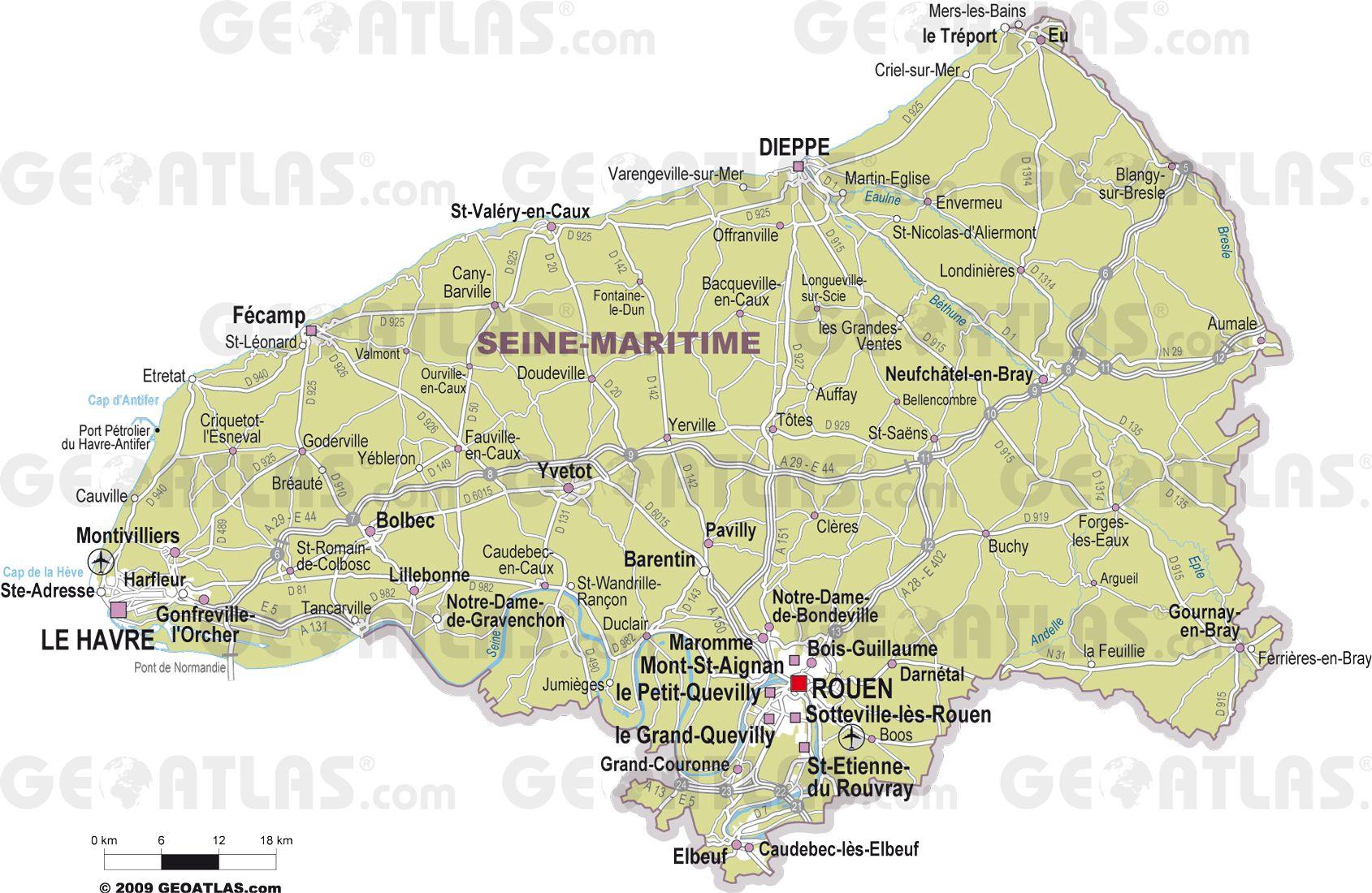 Carte des villes de Seine-Maritime