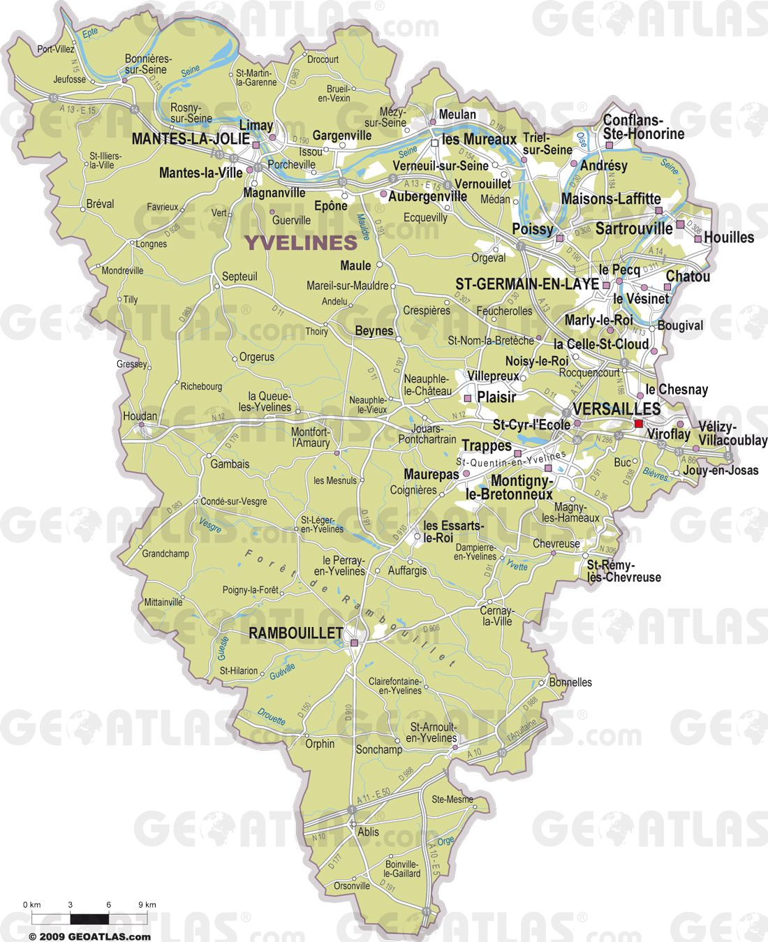 Carte yvelines voyages cartes for Departement 78 ville