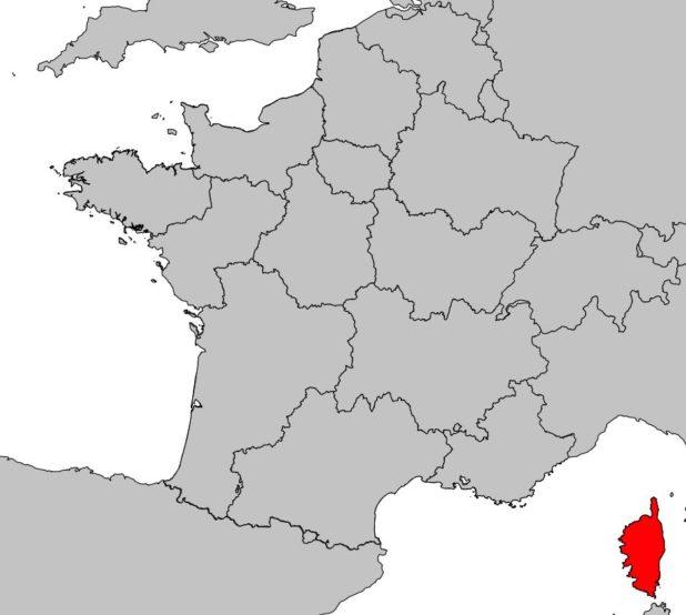 Corse sur carte de France
