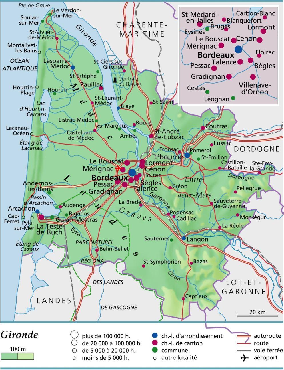 Carte de la Gironde   Gironde carte des villes, communes, relief