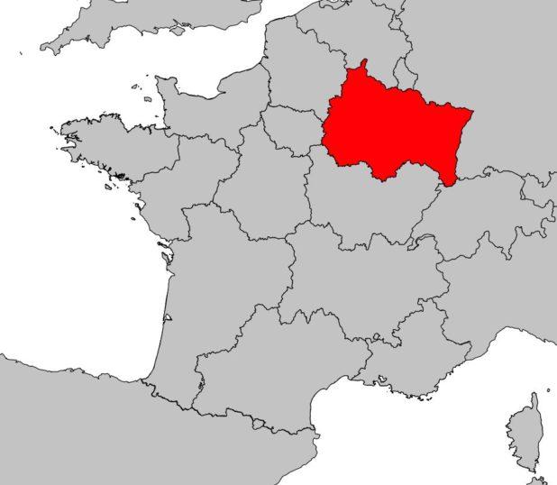 Région Grand Est sur une carte de France