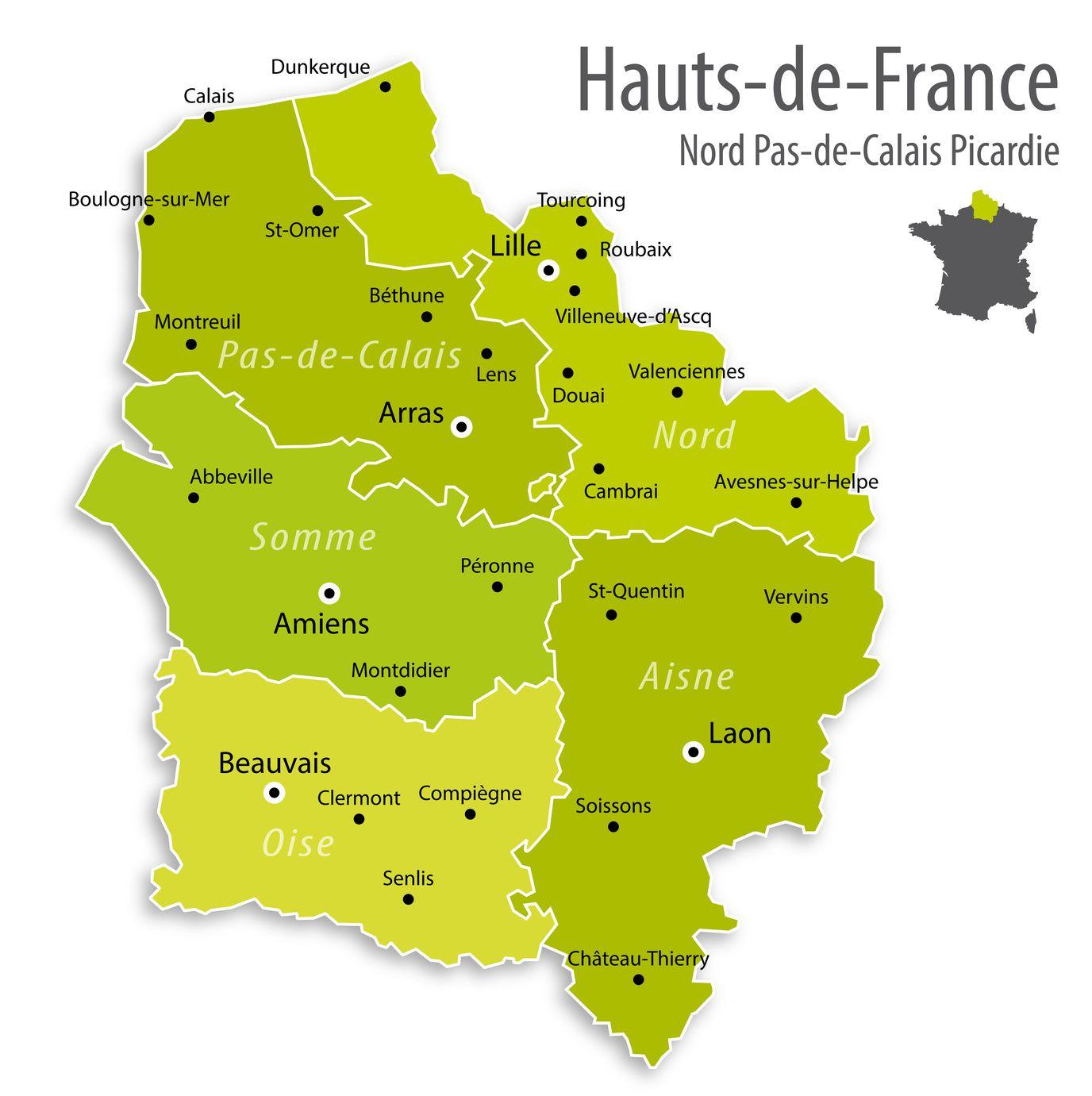 Carte Des Hauts De France Hauts De France Carte Des Villes Departements Politique