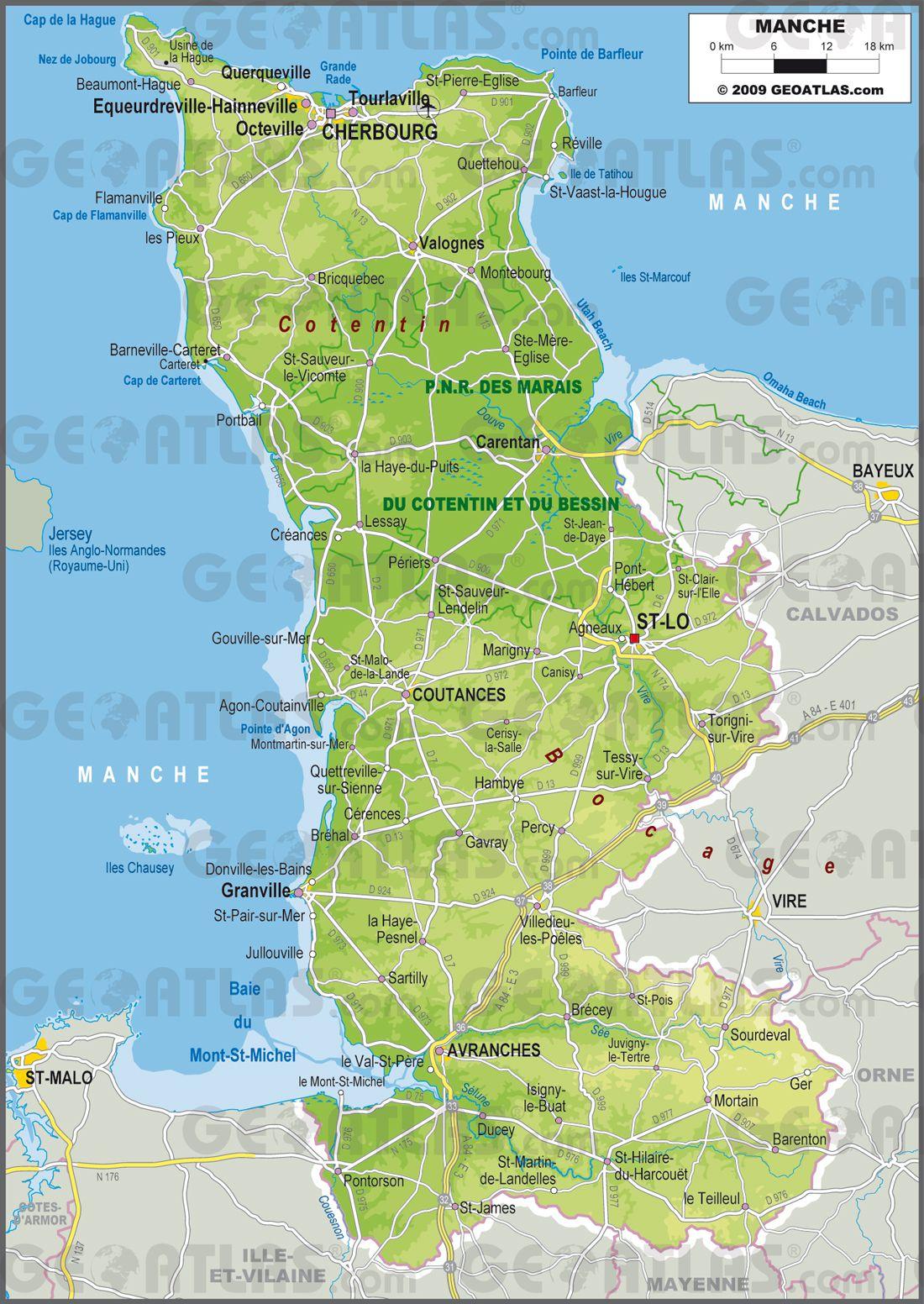 Carte de la Manche   Manche carte des villes, communes, politique