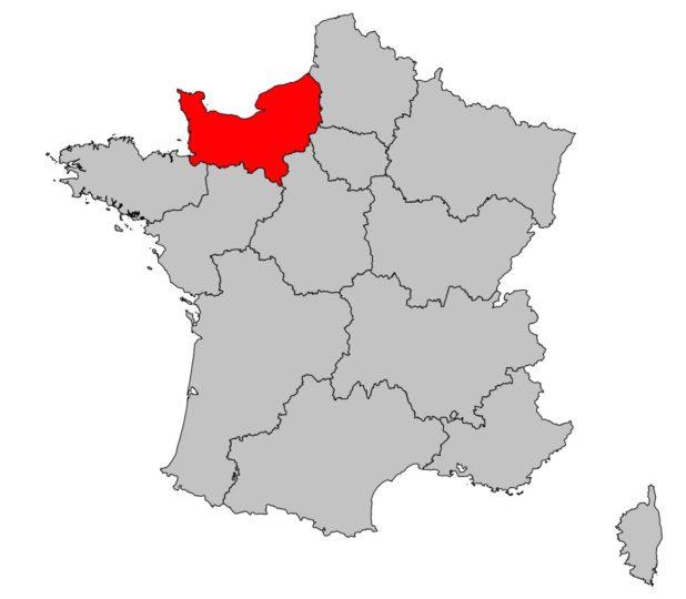Normandie sur une carte de France