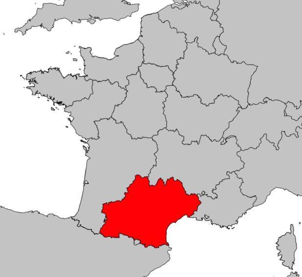 Région de l'Occitanie sur une carte de France