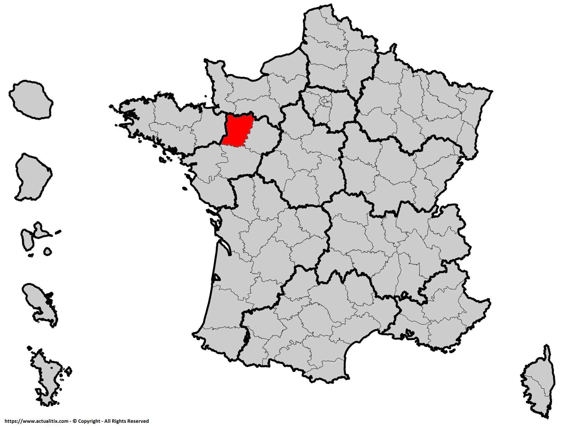 Où se trouve la Mayenne (département 53) en France ?