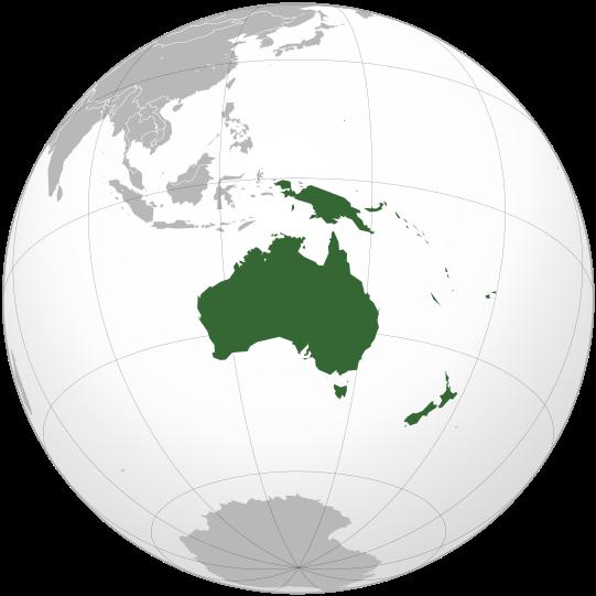Où se trouve l'Océanie dans le monde ?