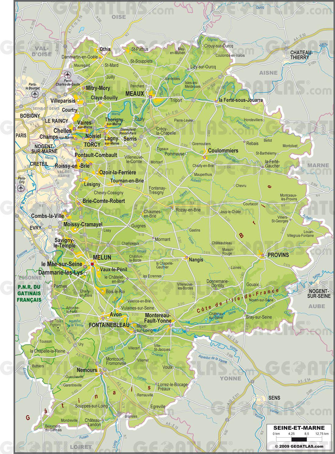 Carte de la Seine et Marne   Seine et Marne carte des villes