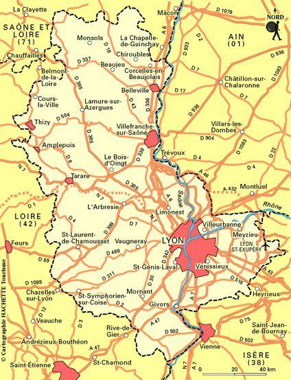 Carte du Rhône - Rhône carte du département 69 - villes, sites touristiques