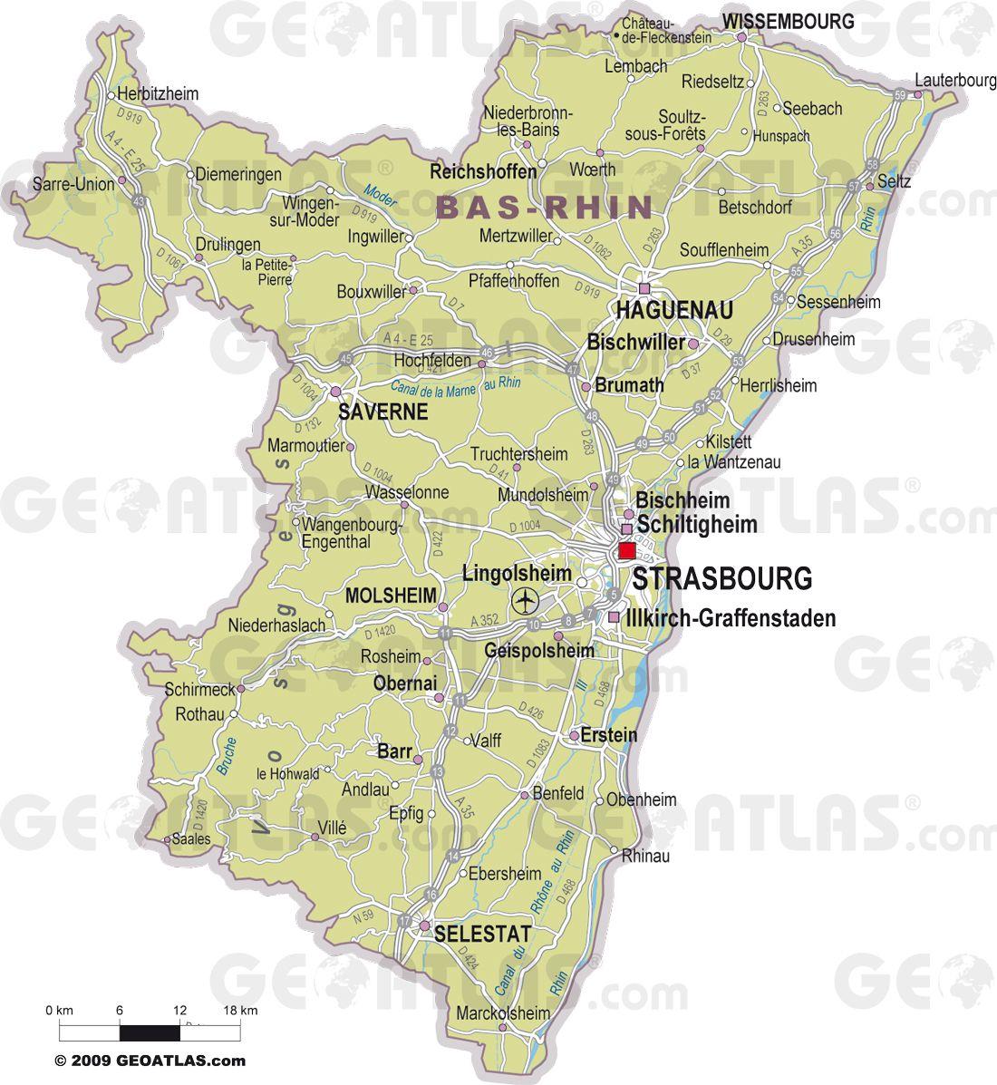 Carte des villes du Bas-Rhin