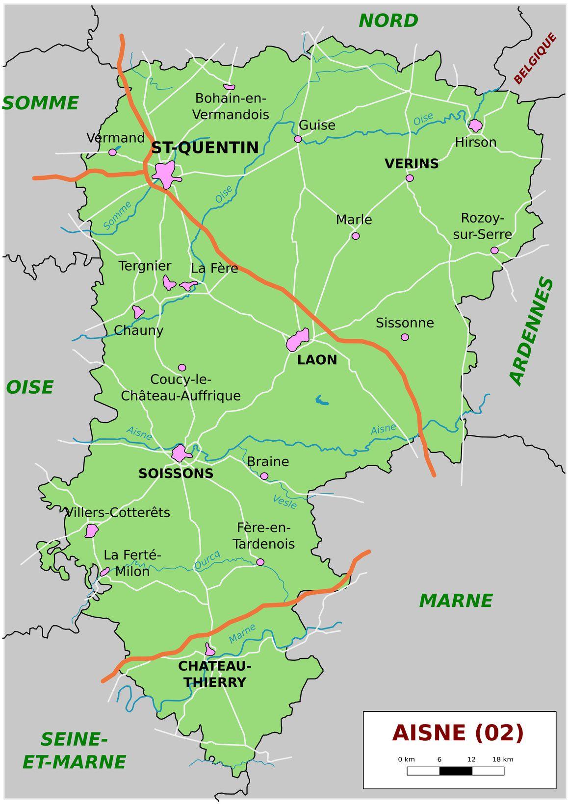 Carte administrative de l'Aisne