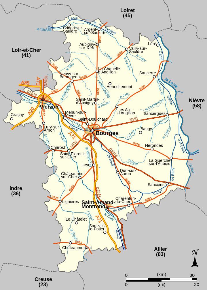 Carte administrative du Cher