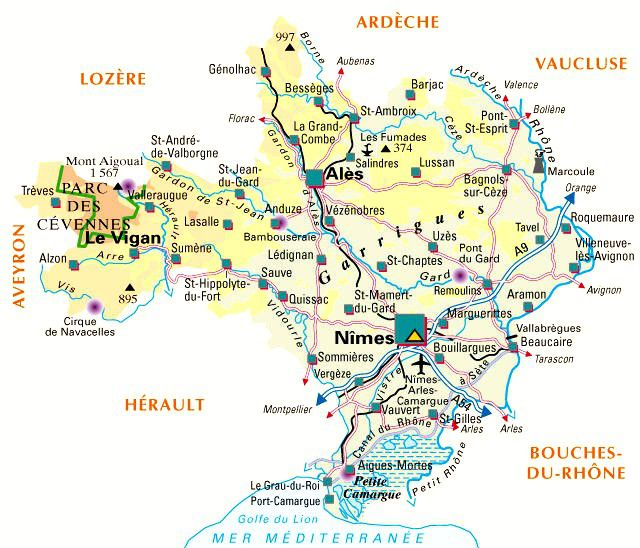 Carte administrative du Gard