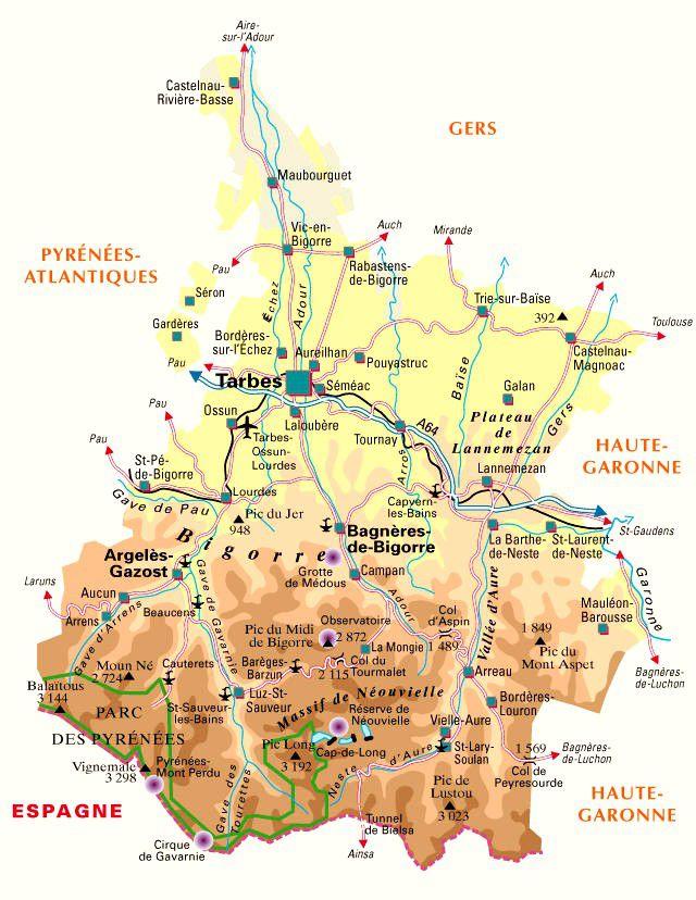 Carte des hautes pyr n es hautes pyr n es carte du - Saint lary soulan office du tourisme ...