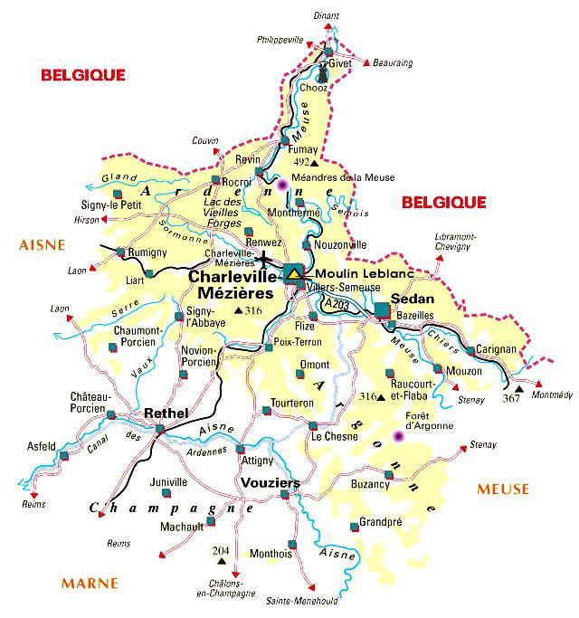 Carte des Ardennes - Politique