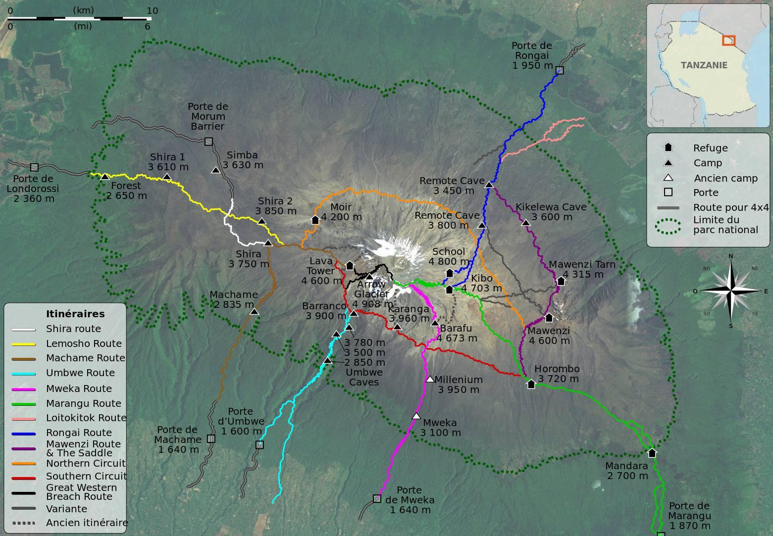 Carte de l'ascension du Kilimandjaro (itinéraires & parcours)