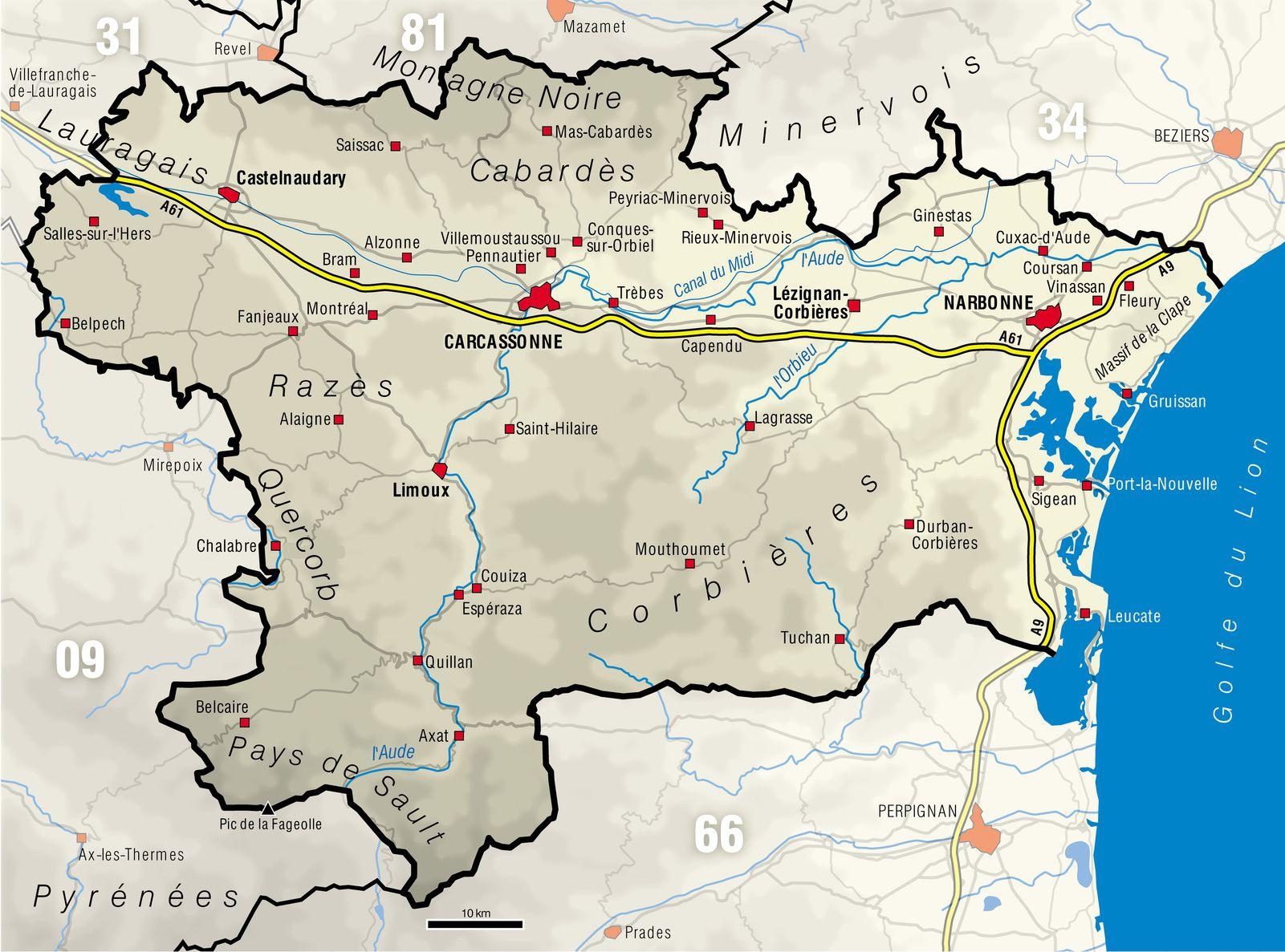 Carte de l'Aude