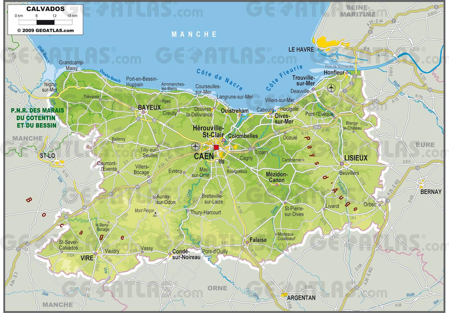 Carte du calvados calvados carte du d partement 14 villes tourisme - Office de tourisme du calvados ...