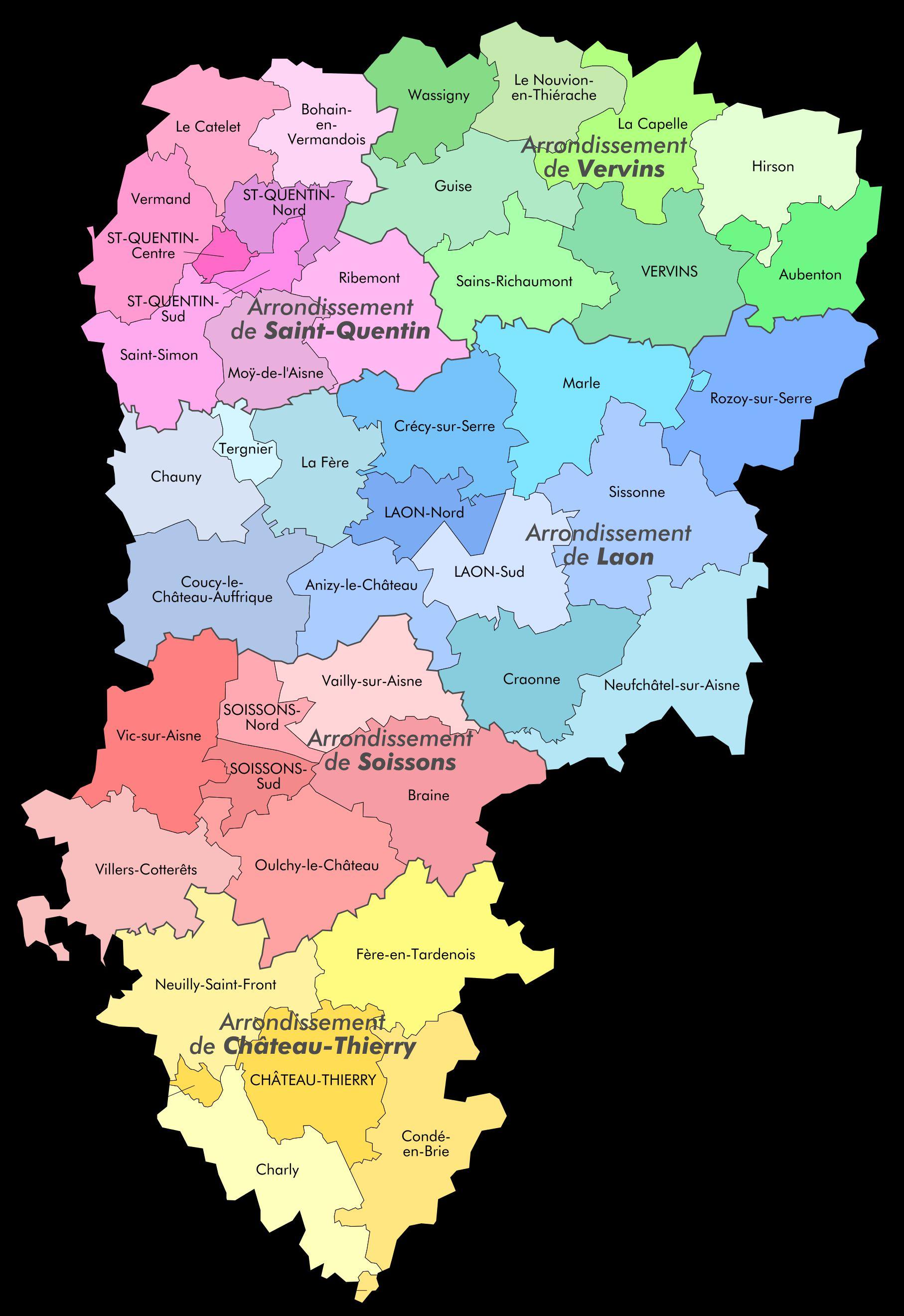 Carte des cantons de l'Aisne