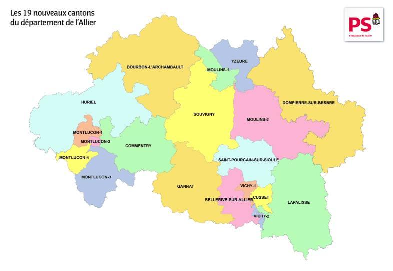 Carte des cantons de l'Allier