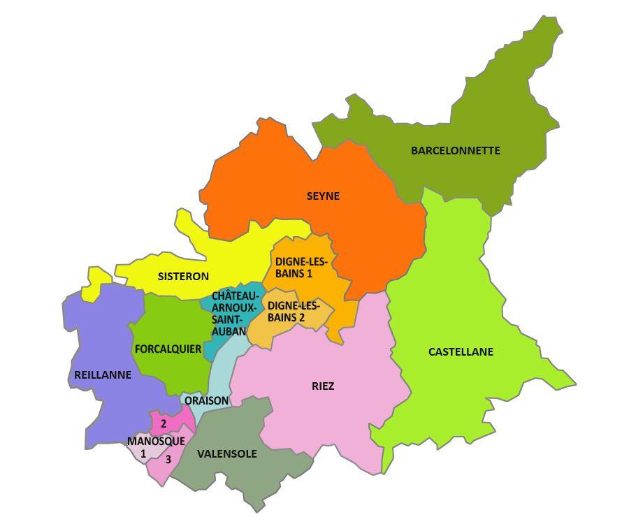 Carte des cantons des Alpes-de-Haute-Provence