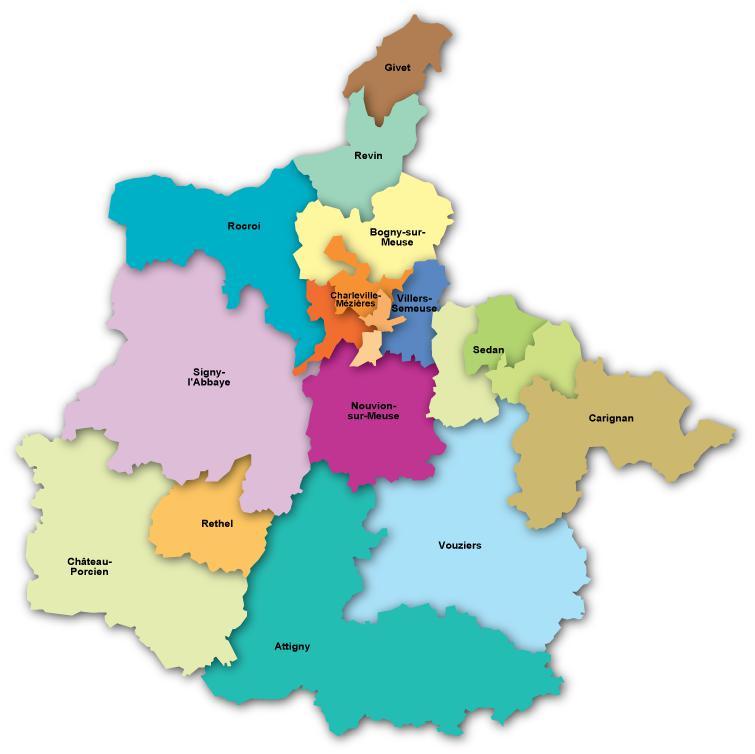 Carte des cantons des Ardennes
