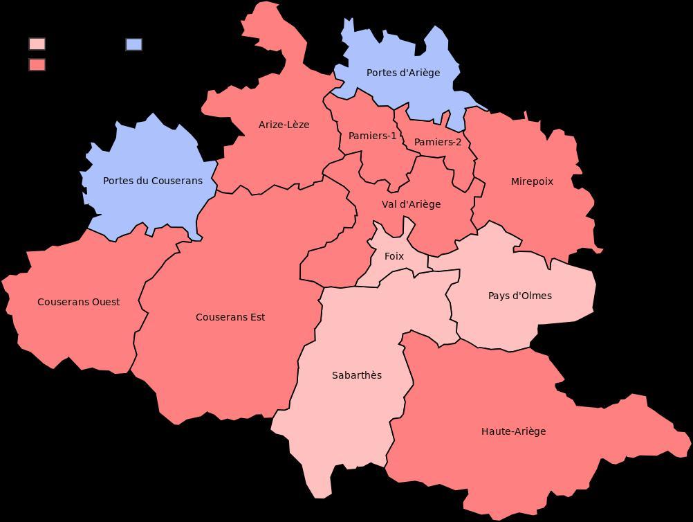 Carte des cantons de l'Ariège