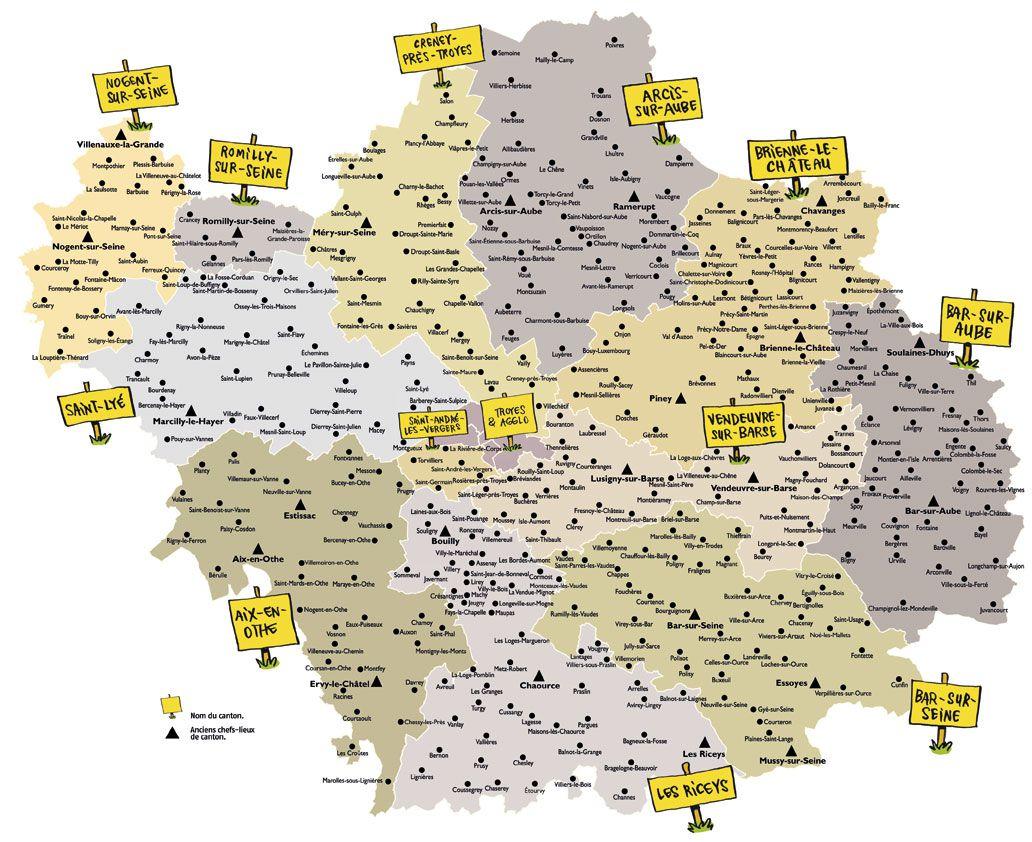 Carte des cantons de l'Aube