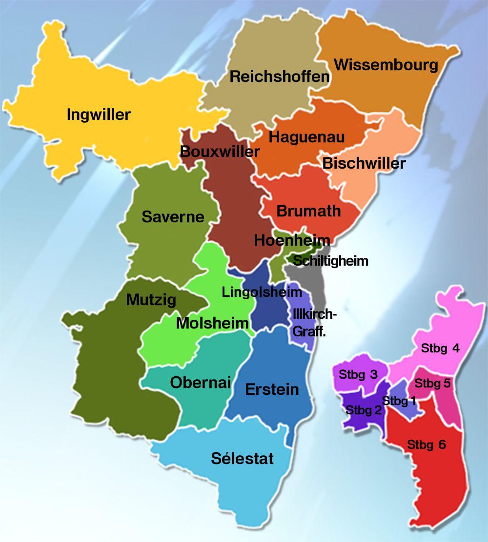 Carte des cantons du Bas-Rhin