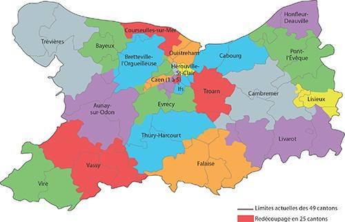 Carte des cantons du Calvados