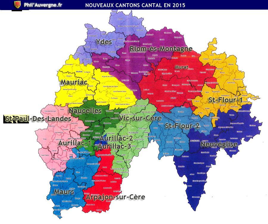 Carte des cantons du Cantal