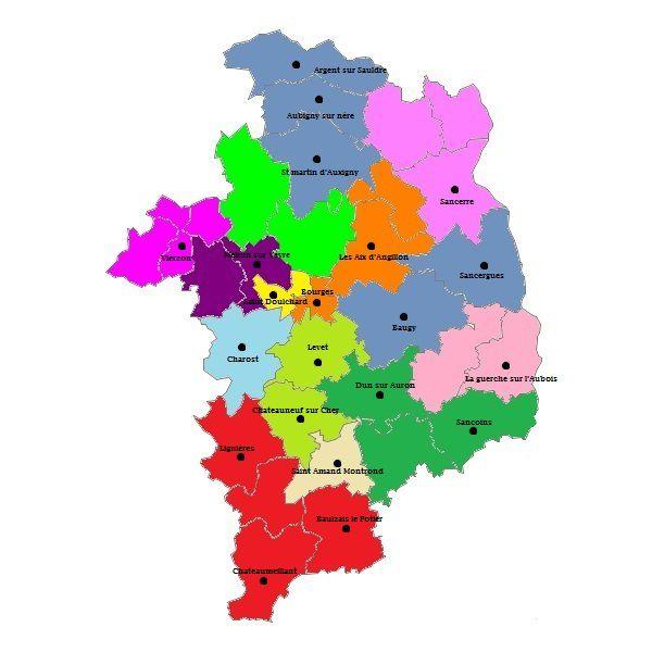 Carte des cantons du Cher
